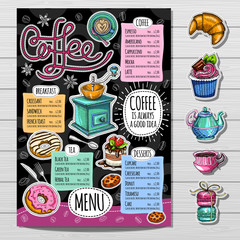 Coffee restaurant brochure vector, coffee shop menu design, sketch style. Coffee, desserts, tea, breakfast, cakes, donut. Lettering cup logo. Hand drawn vector