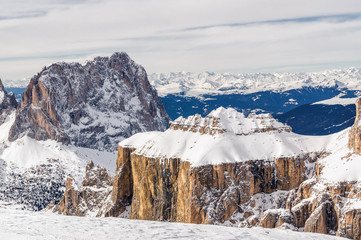 Sunny view of Dolomite Alps from viewpoint of Passo Pordoi near Canazei of Val di Fassa, Trentino-Alto-Adige region, Italy.