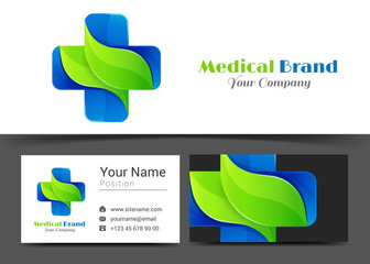 Medicine Corporate Logo and business card sign template. Creative design with colorful logotype business visual identity composition made of multicolored element. Vector illustration