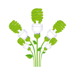 color background with set of spiral fluorescent lamp with stem and leaves vector illustration