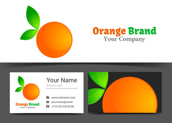 Fresh Orange Grapefruit Juice Corporate Logo and Business Card Sign Template. Creative Design with Colorful Logotype Visual Identity Composition Made of Multicolored Element. Vector Illustration