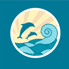 Badge with Sea Wave, Sun and Dolphin