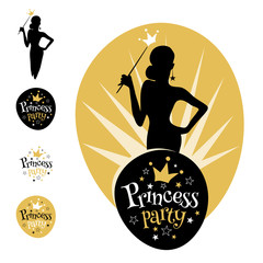 Princess Party logo, emblem, stars, crown, women, silhouette. Gold bridal shower Hen Birthday Girl lettering sign typography. Lettering design. Vector illustration.