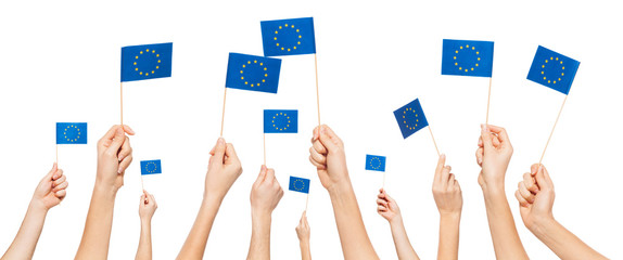 Hands holding and raising European Union flags