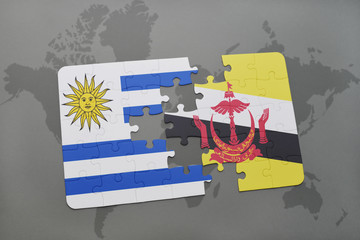 puzzle with the national flag of uruguay and brunei on a world map