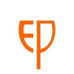initial letter EDP orange color logo vector