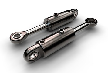3d illustration of hydraulic cylinder