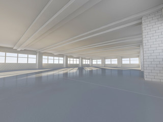 Sunny big open area with windows. 3D rendering.