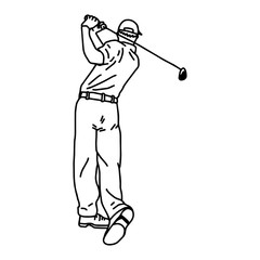 golf player - vector illustration sketch hand drawn with black lines, isolated on white background