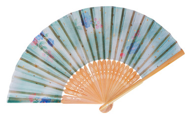 Japanese fan decorated with flowers and stars in blue, green.