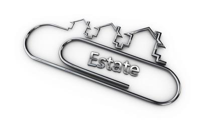 silver 3d modern design logo with estate word 3d illustration