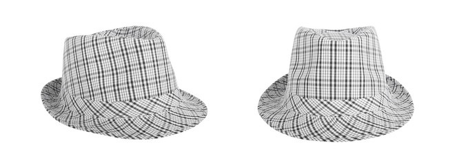 Monochrome checked hat for the summer on an isolated background