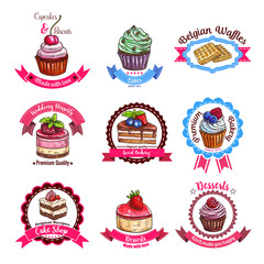 Bakery or pastry dessert cakes vector sketch icons