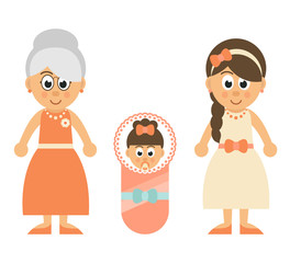 cartoon little baby girl and mother and grandmother
