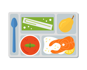 Lunch on a tray: vegetable soup, fish steak with rice,pear and apple juice in a box. Flat design. Vector illustration.