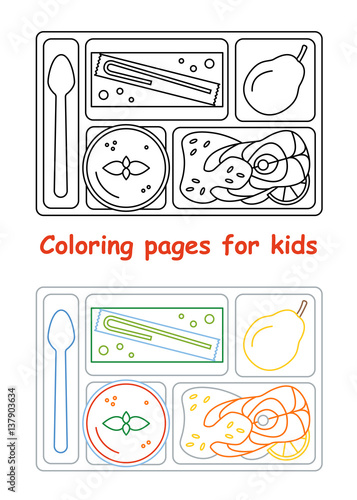 lunch coloring pages - coloring pages for kids lunch tray line style vector