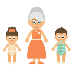 cartoon baby girl and boy and grandmother