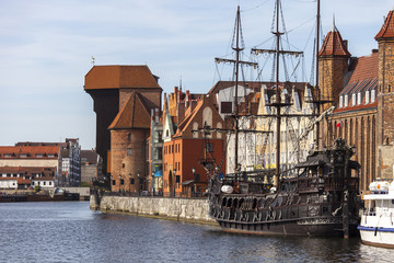 Old Town of Gdansk with The Crane on the Motlawa river - Poland