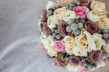 Beautiful and colorful wedding bouquet