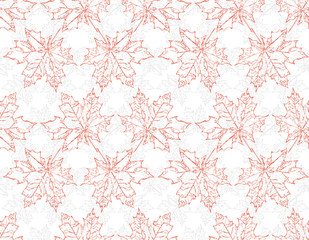 Image seamless pattern of falling maple leaves. Red and grey tones. Can be used as poster, wallpaper, backdrop, background.