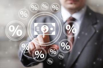 Businessman touch button dollar communication percent web icon