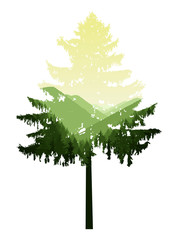 Natural silhouette of coniferous tree with panorama of mountains. Green and yellow tones.