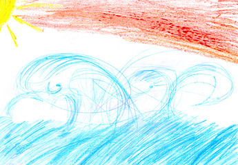 Child's drawing of a sea sun clouds sunset sunrise