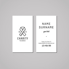 Donations and charity business card design. Logo with ribbon.