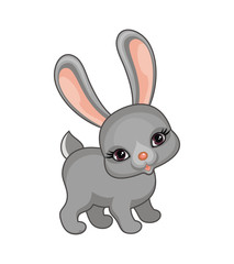The vector image of a ridiculous bunny in cartoon style isolated on a white background.