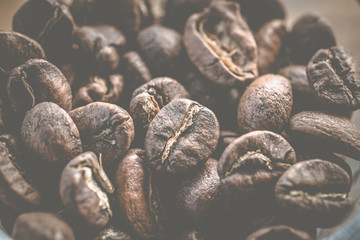 The macro of roasted coffee beans, can be used as background.
