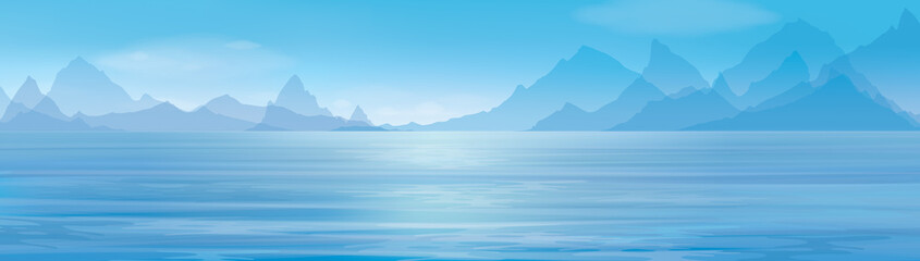 Vector blue panoramic sea   on  mountains  background.
