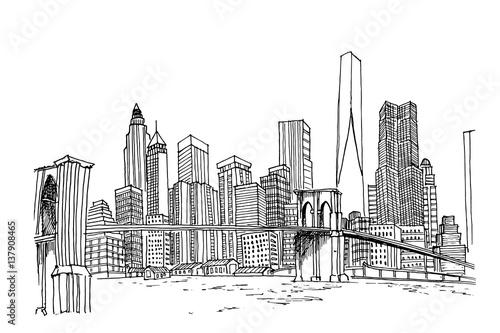 Line Drawing New York Skyline : Quot new york skyline black and white vector sketch obrazów