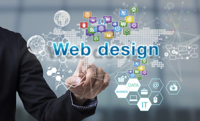 Businessman hand chooses web design wording on interface screen. internet technology service concept. can used for cover page presentation and web banner.