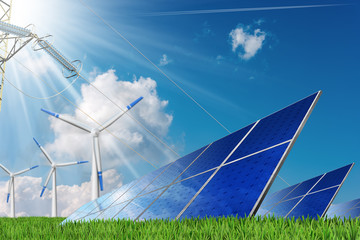 Solar panels, wind turbines and a power line on a blue sky with clouds