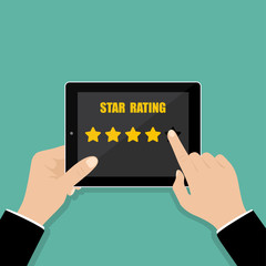Star holding. Rate our app flat concept. Businessman Hand holds tablet with 5 stars. Vector illustration