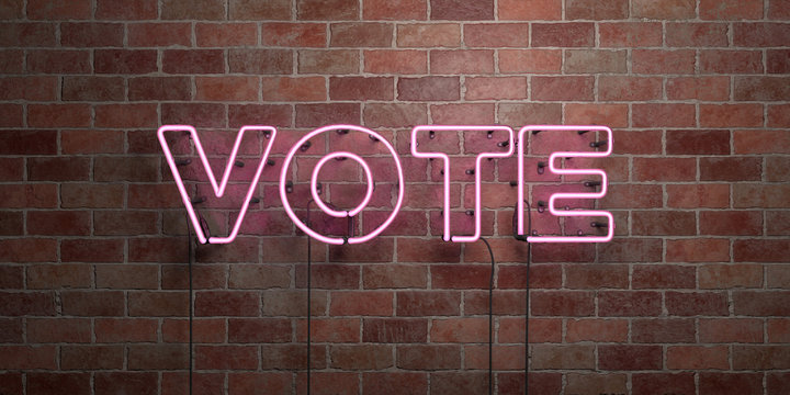 VOTE - fluorescent Neon tube Sign on brickwork - Front view - 3D rendered royalty free stock picture. Can be used for online banner ads and direct mailers..