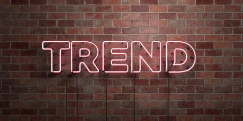 TREND - fluorescent Neon tube Sign on brickwork - Front view - 3D rendered royalty free stock picture. Can be used for online banner ads and direct mailers..
