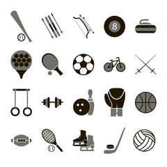 Sport Icon Signs and Symbols Black Set. Vector