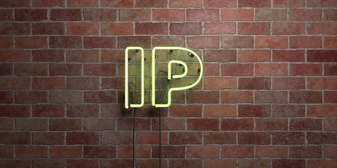 IP - fluorescent Neon tube Sign on brickwork - Front view - 3D rendered royalty free stock picture. Can be used for online banner ads and direct mailers..