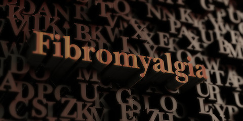 Fibromyalgia - Wooden 3D rendered letters/message.  Can be used for an online banner ad or a print postcard.