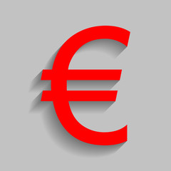 Euro sign. Vector. Red icon with soft shadow on gray background.