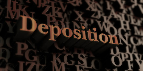 Deposition - Wooden 3D rendered letters/message.  Can be used for an online banner ad or a print postcard.
