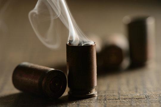 Empty 9mm bullet shell casings