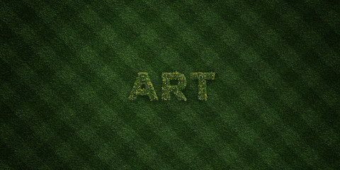 ART - fresh Grass letters with flowers and dandelions - 3D rendered royalty free stock image. Can be used for online banner ads and direct mailers..