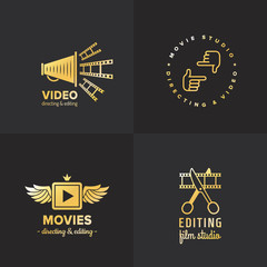 Film, movie and video logo vintage vector set. Part two.
