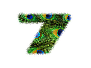 High resolution font number 7 made of peacock feathers pattern isolated on white background