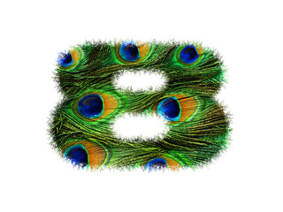 High resolution font number 8 made of peacock feathers pattern isolated on white background