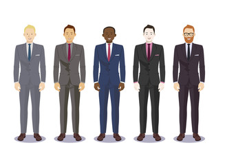 Digital vector illustration business man pose standing