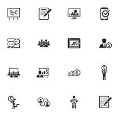 Business Coaching Icon Set. Online Learning.