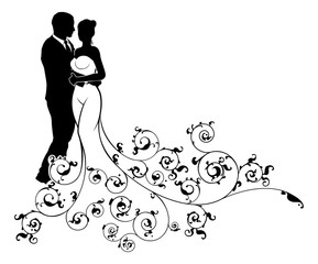 Abstract Pattern Bride and Groom Wedding Silhouette